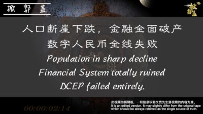 Population in sharp decline; Financial System totally ruined; DCEP failed entirely.