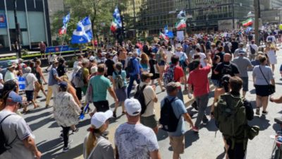 First Anti-vaccine Passport Rally Demonstration in Quebec City, Canada