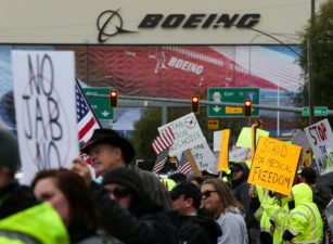 Boeing employees protest against U.S. Covid-19 vaccine mandate