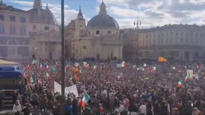 Broadcast|Massive Demonstration Against Compulsory Vaccination Passport In Italy